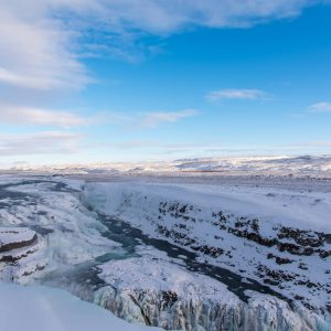 iceland golden-circle waterfall snow ice water blue