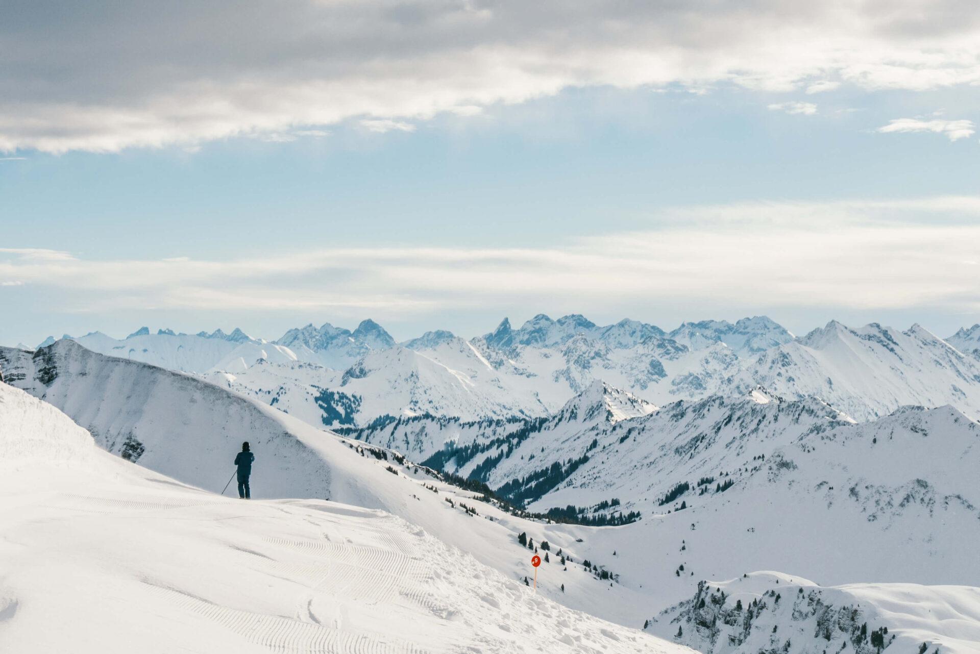 vorarlberg diedamskopf bregenzerwald skiing winter snow mountain snowboard man