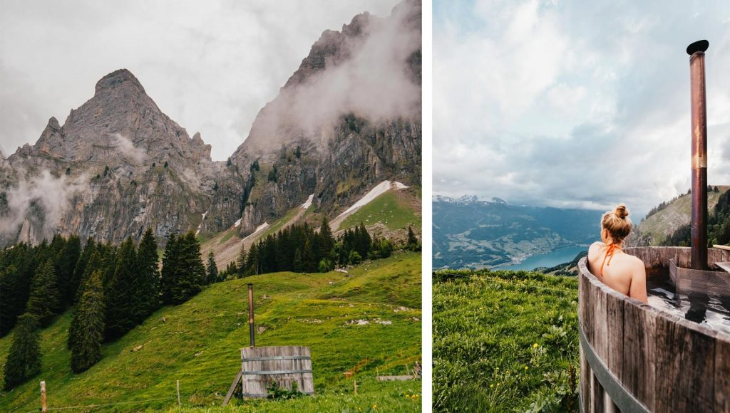schweiz heidiland walensee walenstadt tschingla wandern berge wolken ziege hot-tup frau