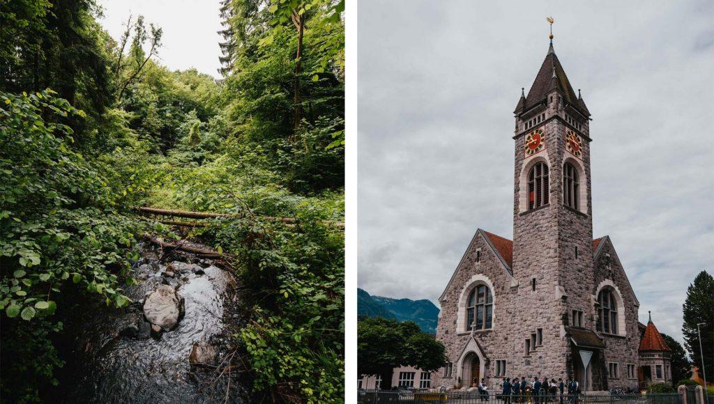 schweiz heidiland walensee wandern see walenstadt tschingla berge wald kirche