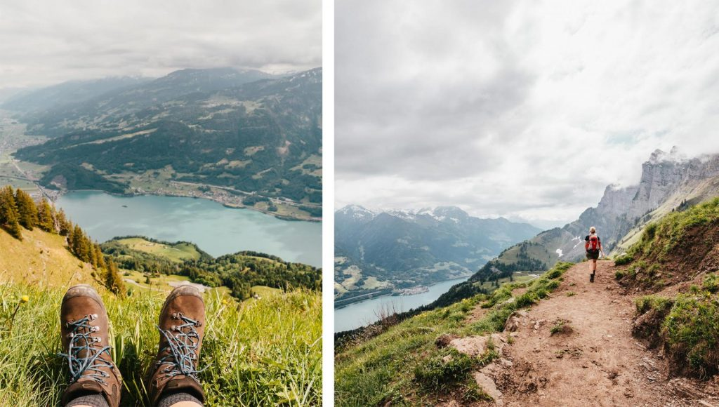 schweiz heidiland walensee walenstadt tschingla wandern berge see frau schuhe