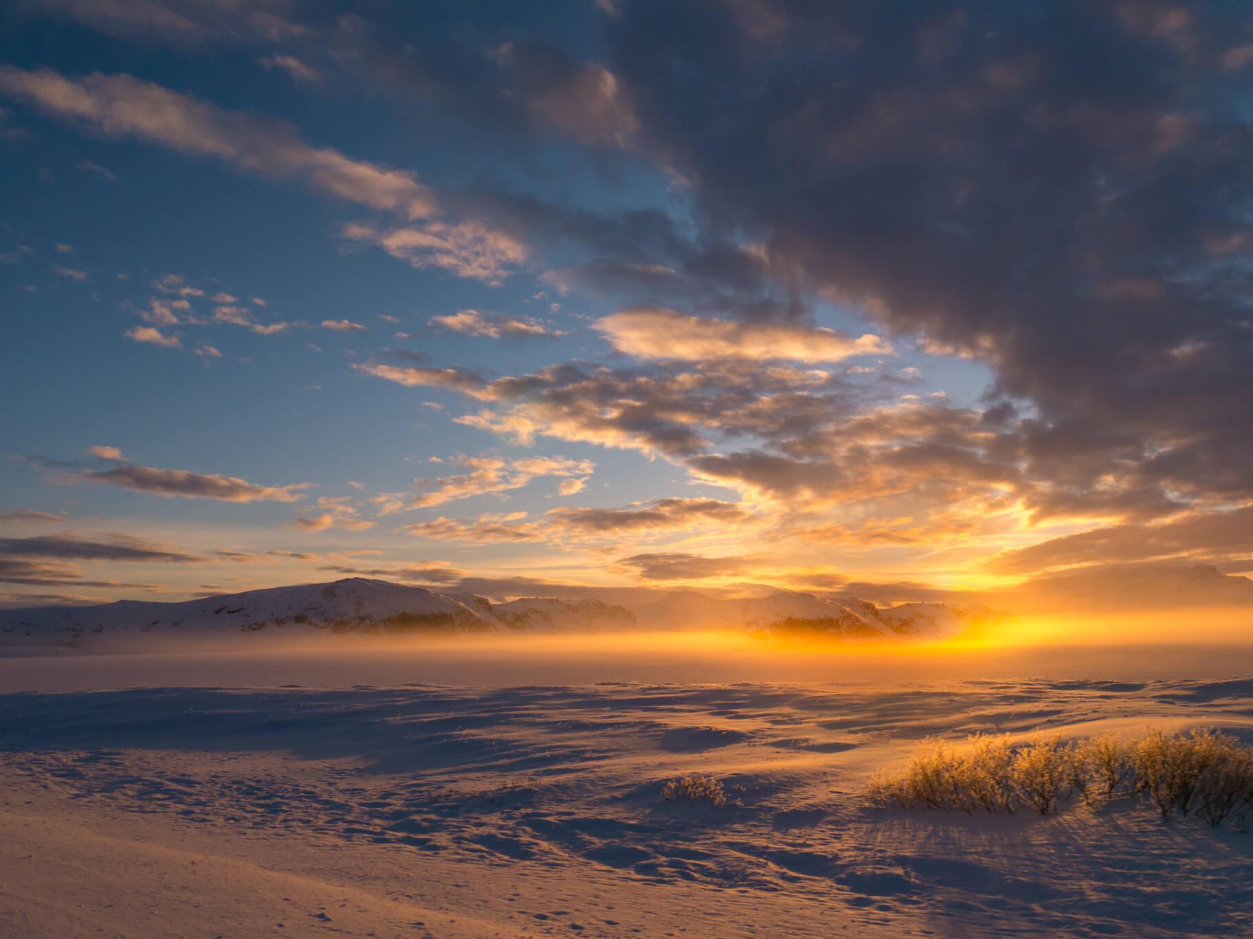 island goldener-ring schnee sonne sonnenuntergang wolken