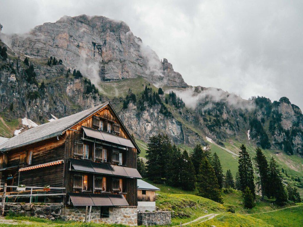 switzerland heidiland walensee tschingla mountain-hut clouds