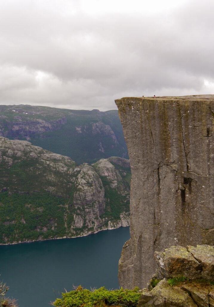 fjord norway preikestolen water men rock mountain sun