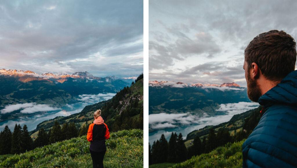 switzerland heidiland walensee mountain lake men clouds women