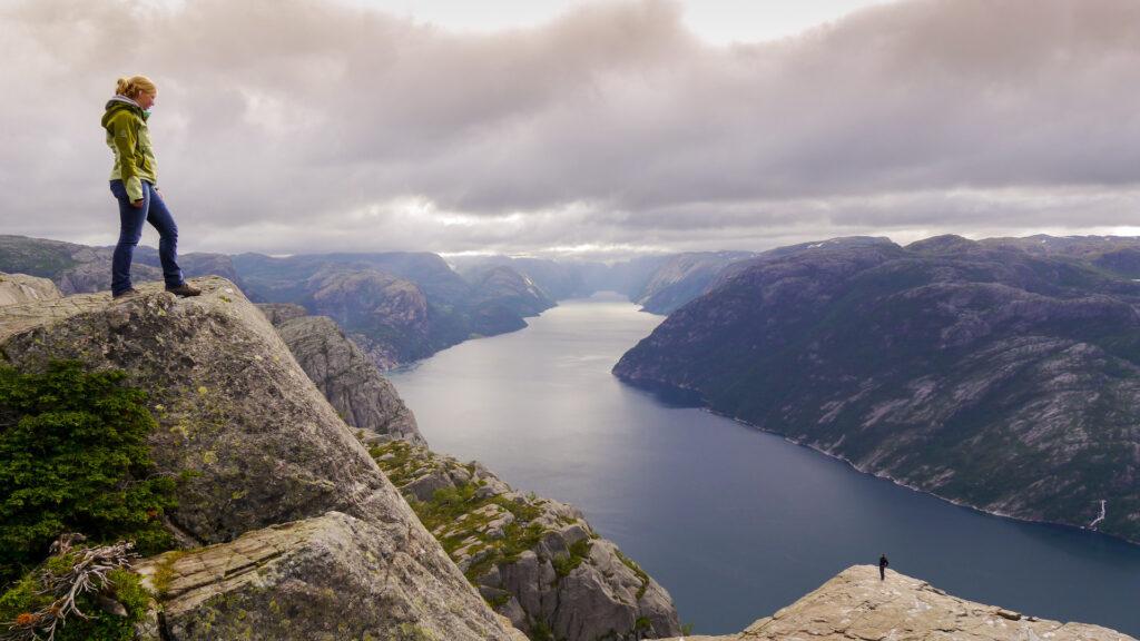 fjord women norway preikestolen water rock mountain