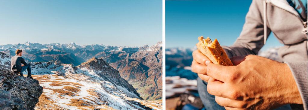 heidiland schweiz herbst schwarzstöckli schnee berge wandern gipfel jause