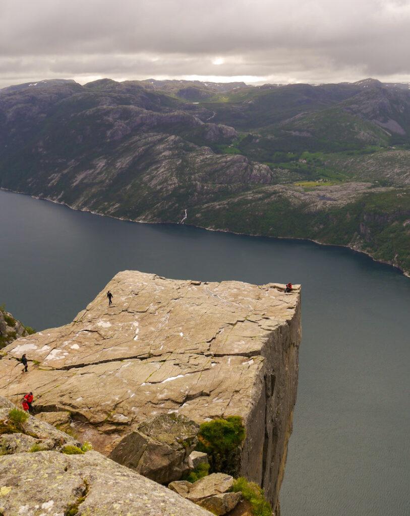 fjord norway people preikestolen water rock mountain