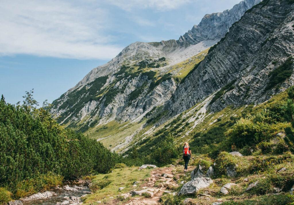 vorarlberg lech zuers lechweg hiking woman mountain