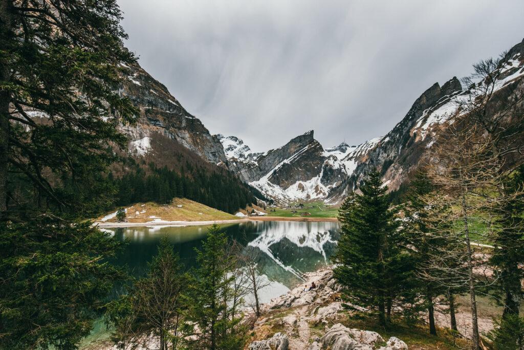 schweiz appenzeller-land seealpsee see berge schnee bäume