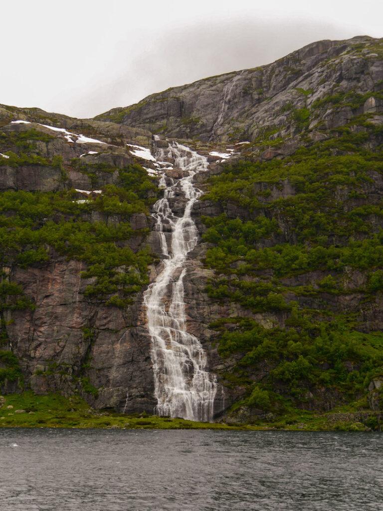 norway waterfall water lake rock mountain