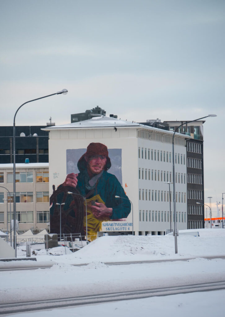 island reykjavik schnee haus mann straße