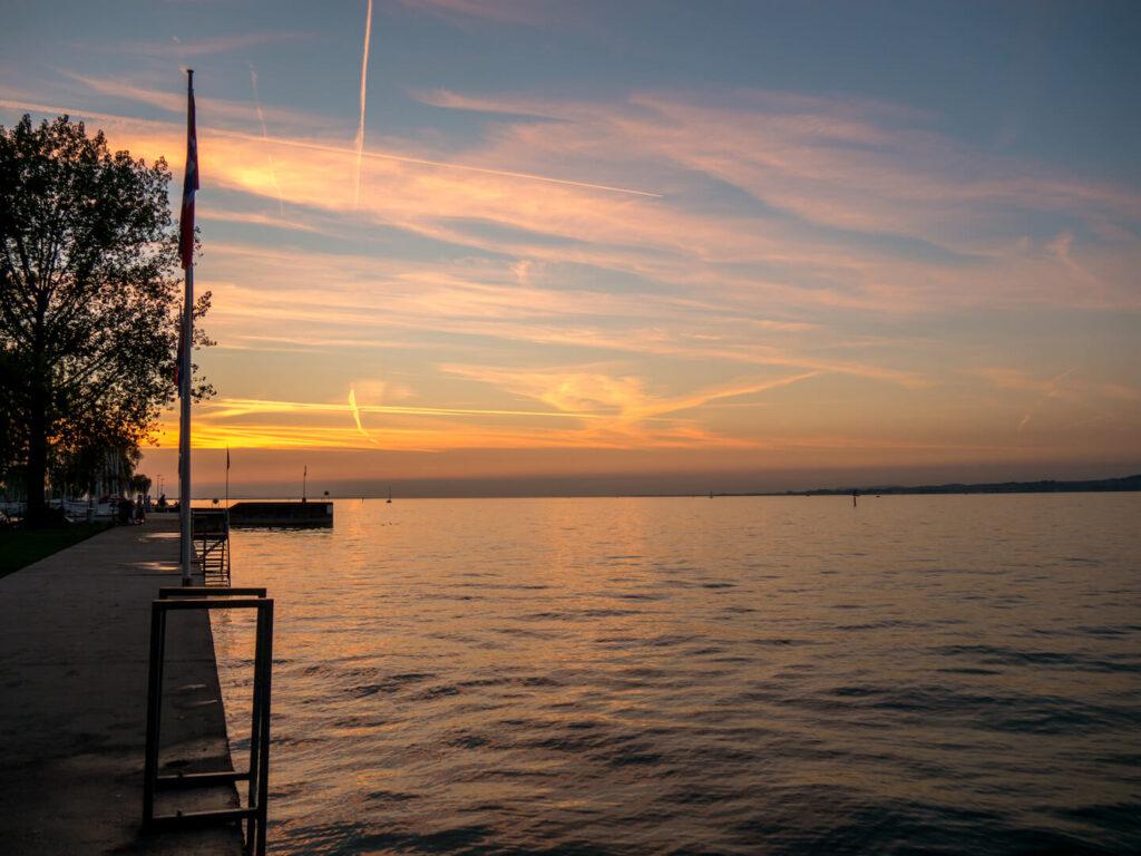 bregenz vorarlberg sunset lake-constance water clouds viking