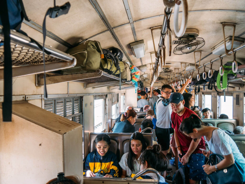 thailand ayutthaya bangkok day-trip train people