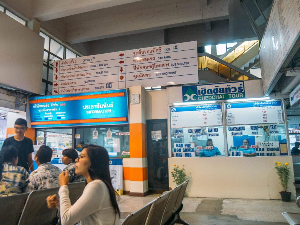 thailand bangkok bus-terminal koh-chang bus people