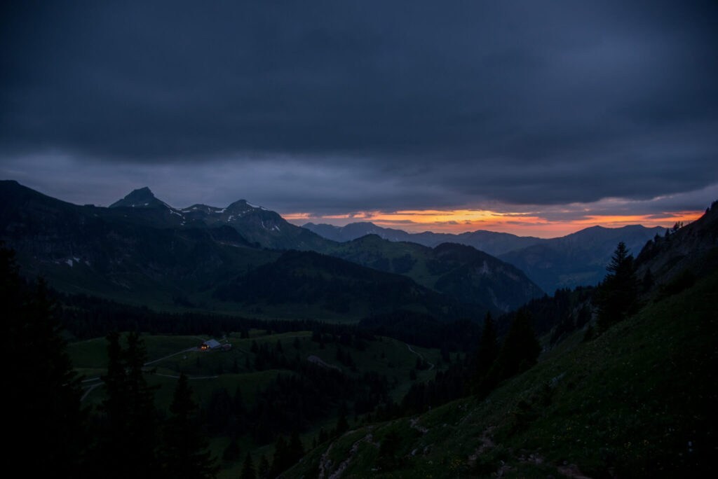 vorarlberg mountain sunset bregenzerwald cross kanisfluh hiking dark