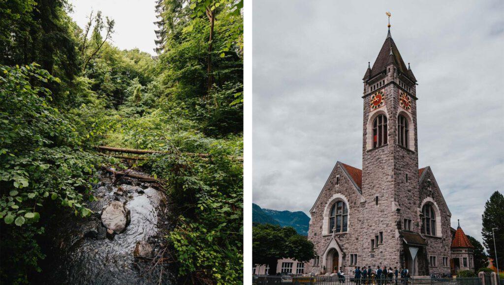 switzerland heidiland walenstadt church forest water