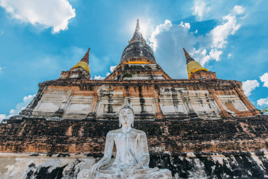 thailand ayutthaya bangkok day-trip temple sun sky clouds