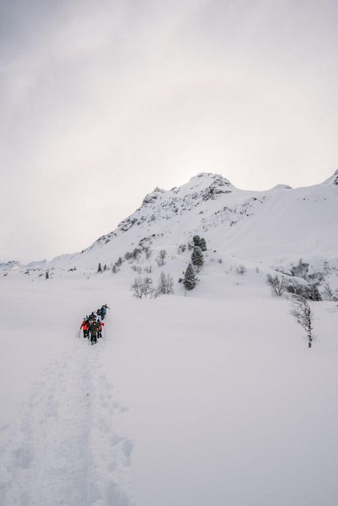 vorarlberg montafon silvretta silvrettasee snowshoeing winter hiking people