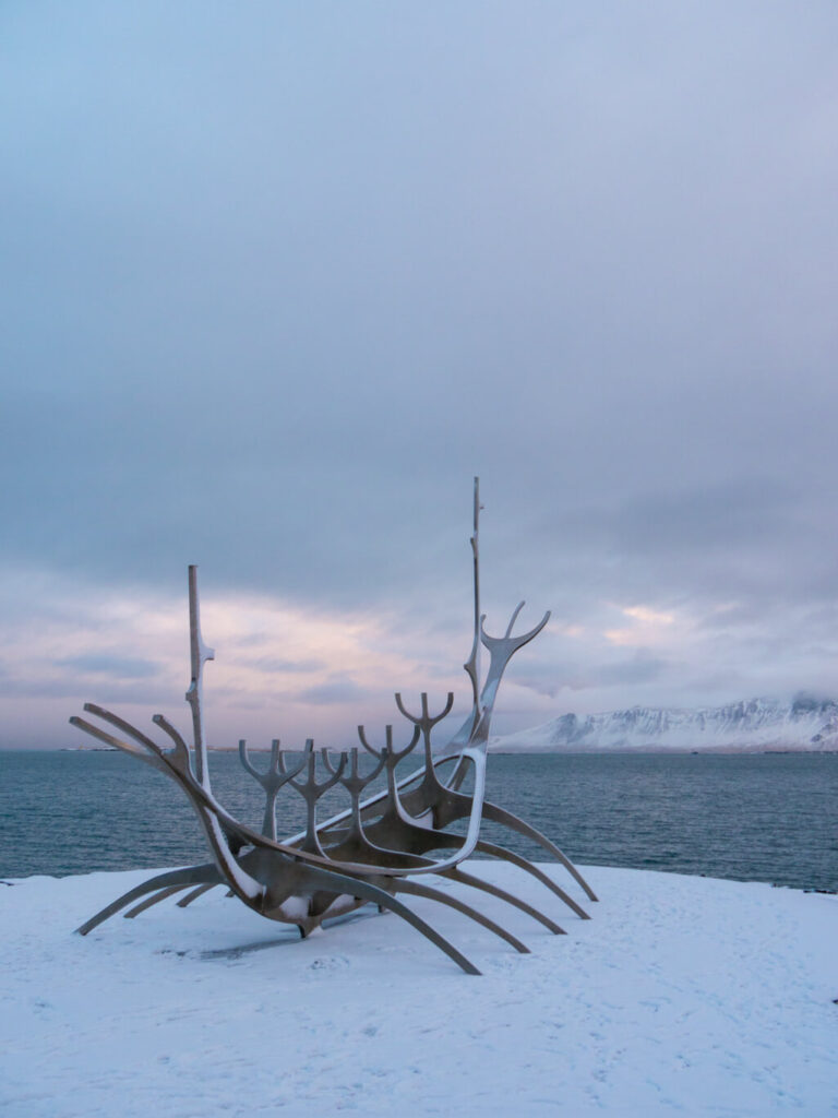 island meer schnee reykjavik wasser schiff