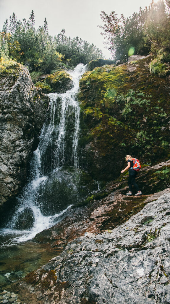 vorarlberg lech zuers lechweg hiking woman waterfall water lech river