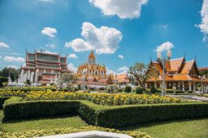 thailand bangkok palace temple clouds sky flowers