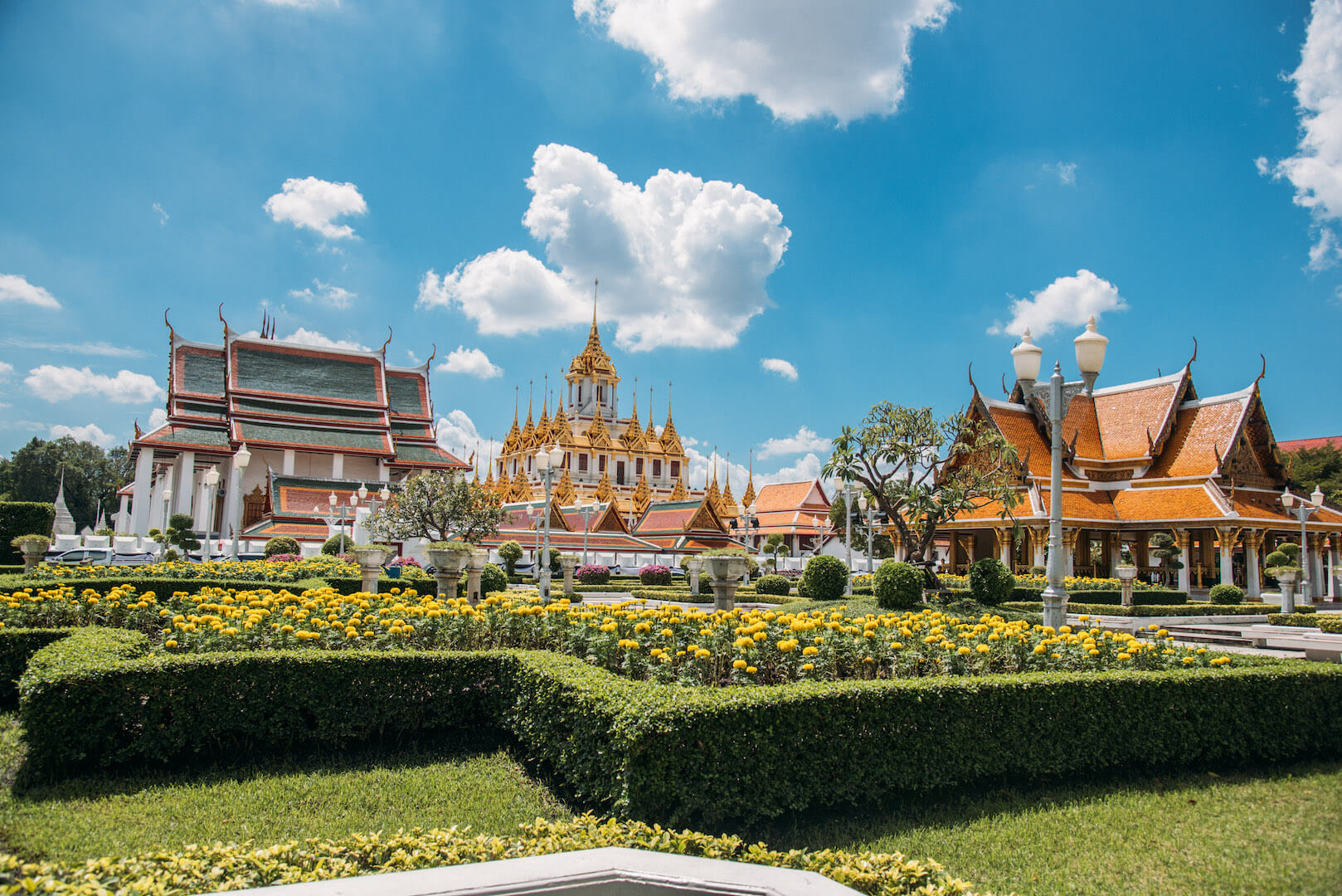 thailand bangkok palace temple clouds sky flowers