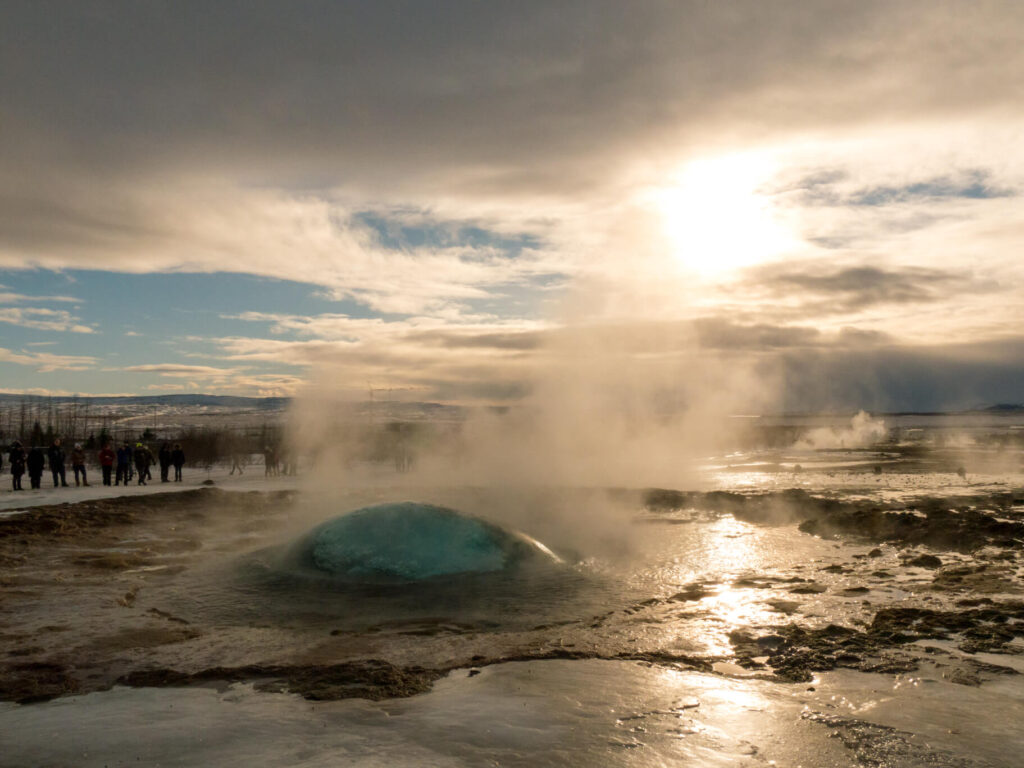 island golden-circle geysir water snow sun