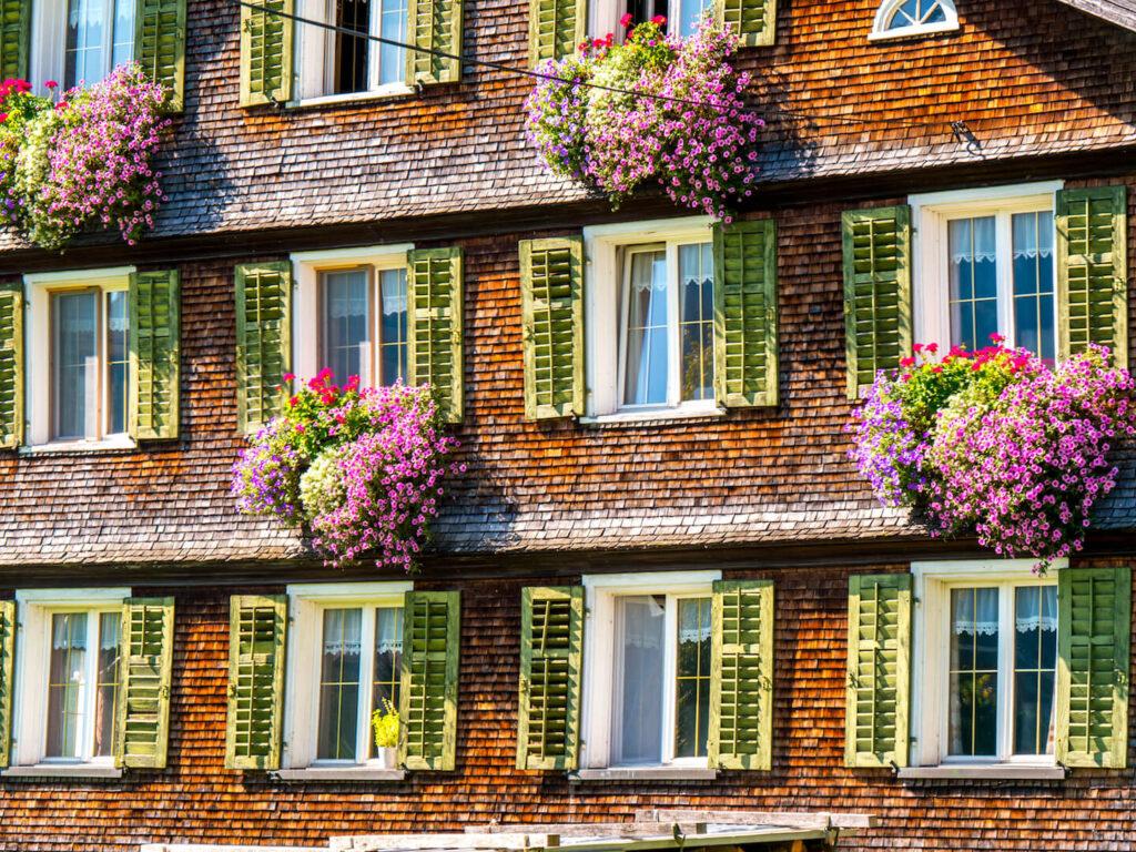 bregenzerwald vorarlberg bezau house flowers vorarlberg windows