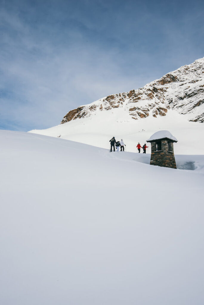 vorarlberg montafon silvretta silvrettasee snowshoeing winter hiking snow mountains people