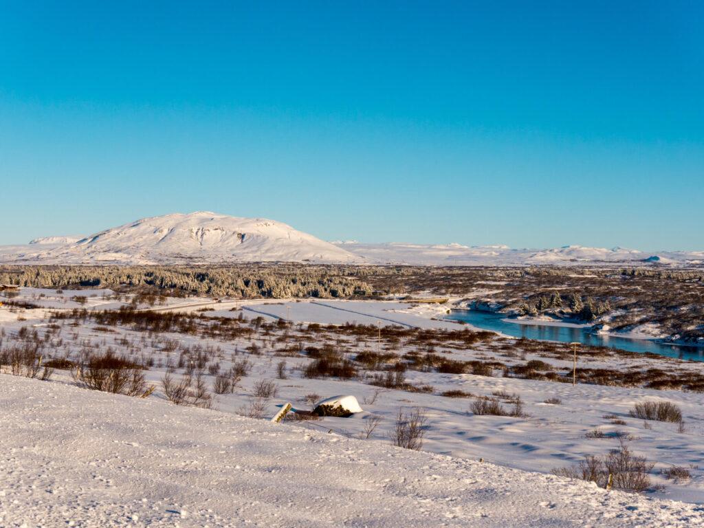 island goldener-ring schnee blau fluss wasser berg