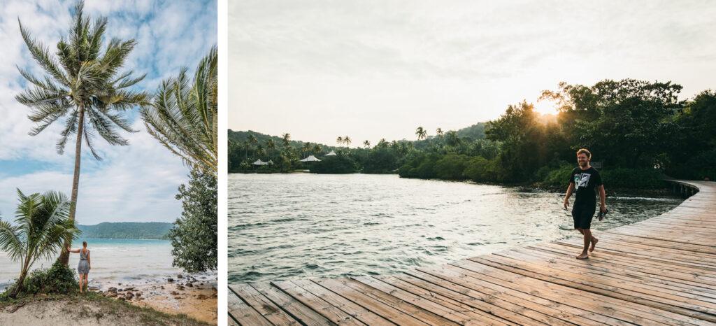 thailand koh-kood soneva-kiri hotel palm-tree sunset island sea man woman