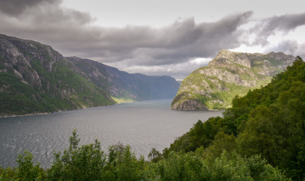 norwegen preikestolen fjord bäume wasser berg felsen sonnenstrahl