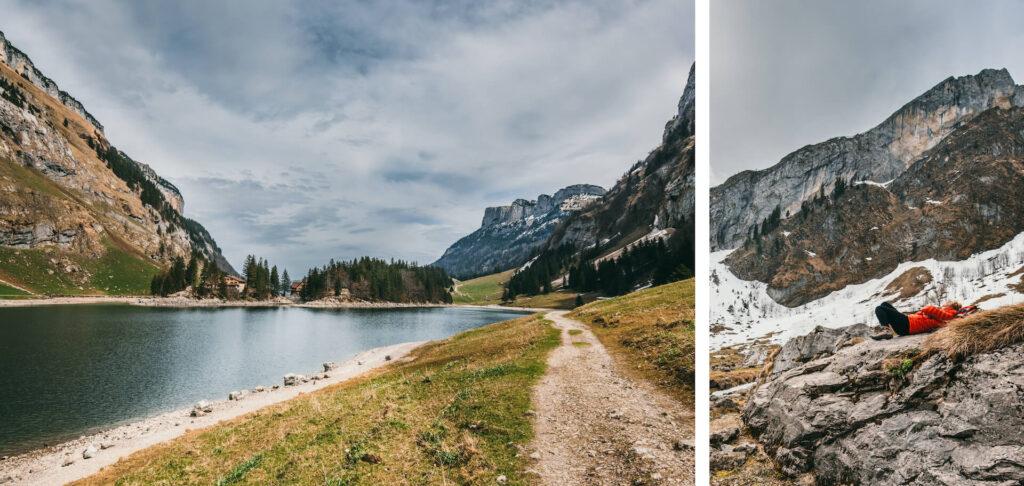 schweiz appenzeller-land seealpsee wandern see berge wolken frau schnee