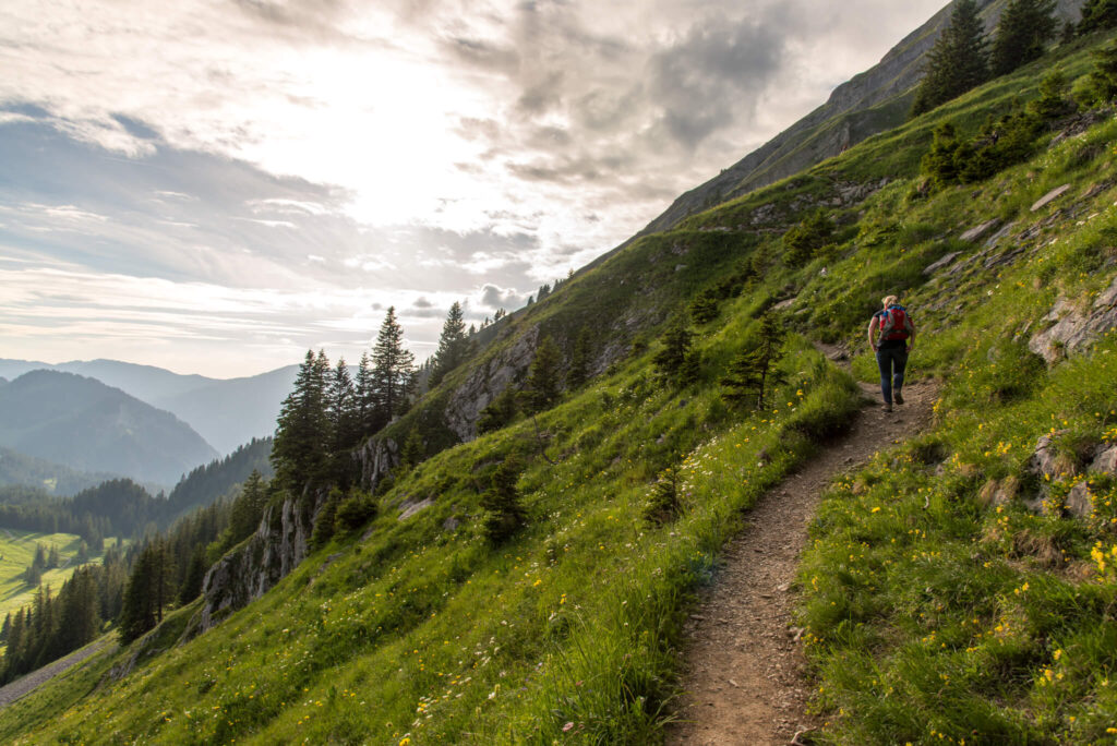 vorarlberg bregenzerwald wandern berg sonne frau kanisfluh