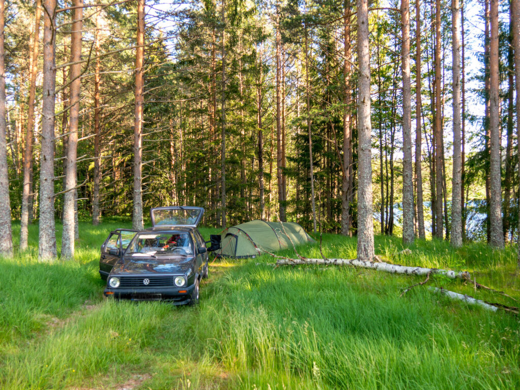 norway lake tent car trees camping forest