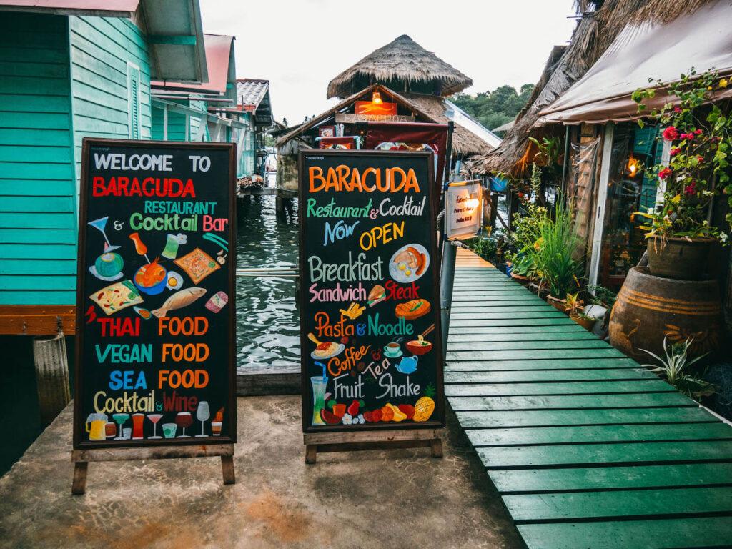 thailand koh-chang insel dorf restaurant essen thai-food schild