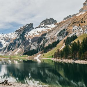 switzerland appenzeller-land seealpsee hiking snow mountain lake