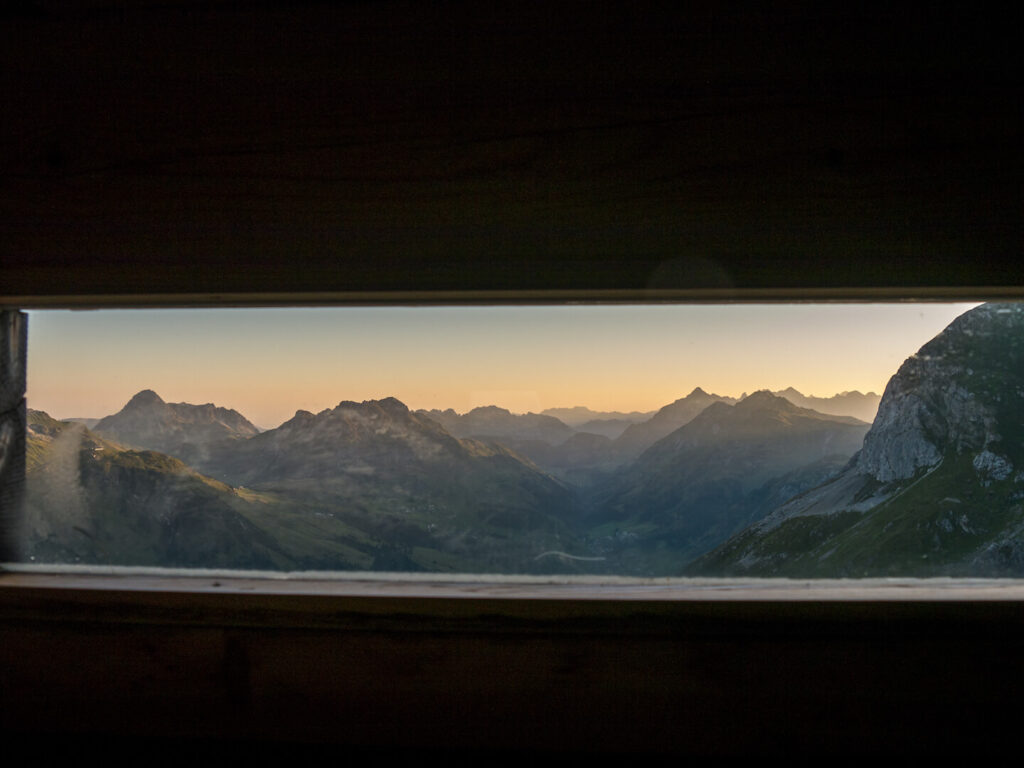 lech zuers vorarlberg mountain hut sun sunset window