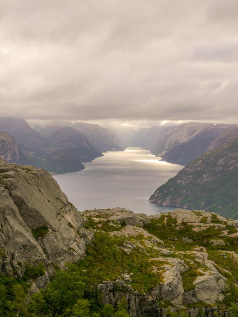 norwegen preikestolen fjord bäume wasser berg felsen sonne