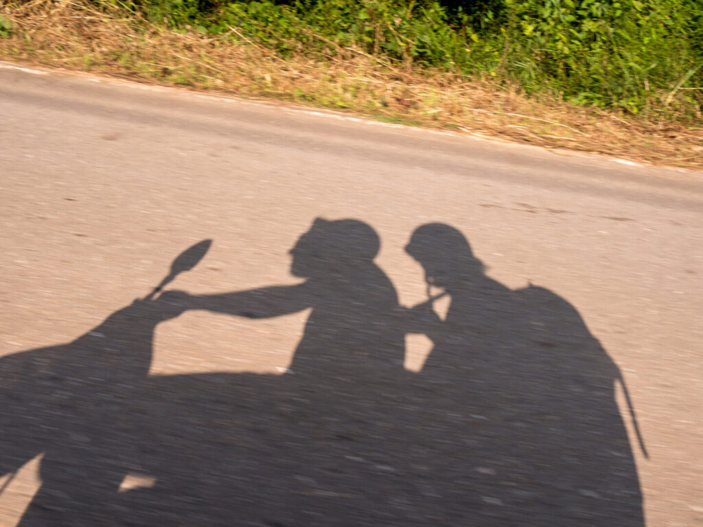 thailand koh-chang island scooter-tour road shadow