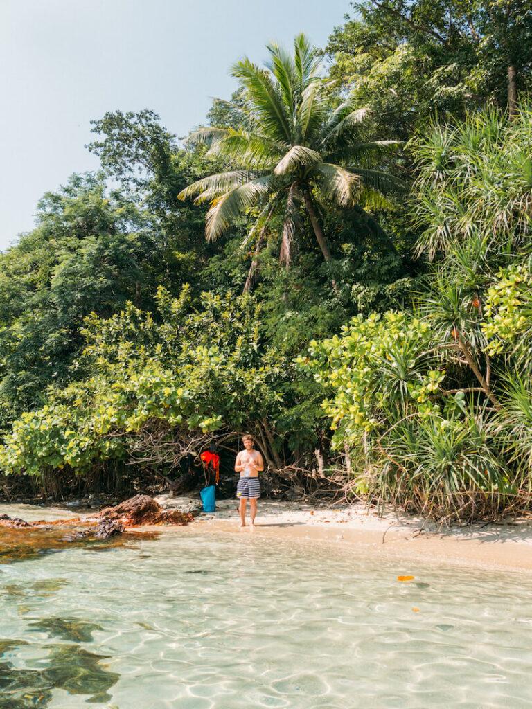 thailand koh-mak beach water sea kayaking island man