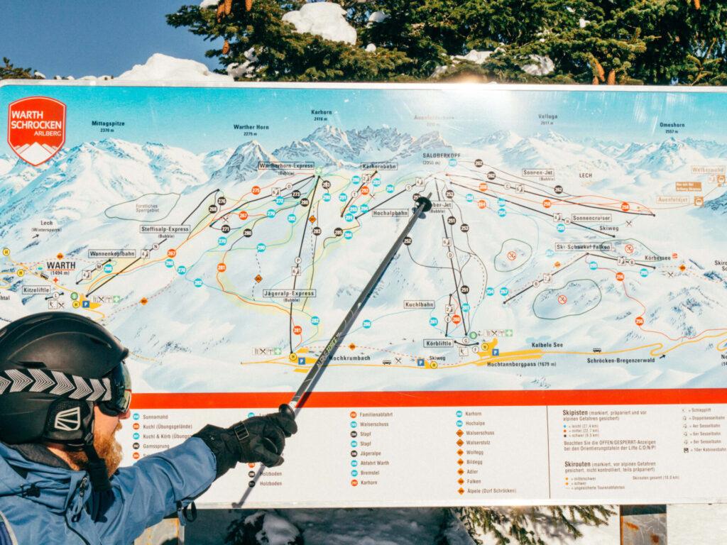 vorarlberg warth-schröcken warth schröcken ski-arlberg skiing snow winter map