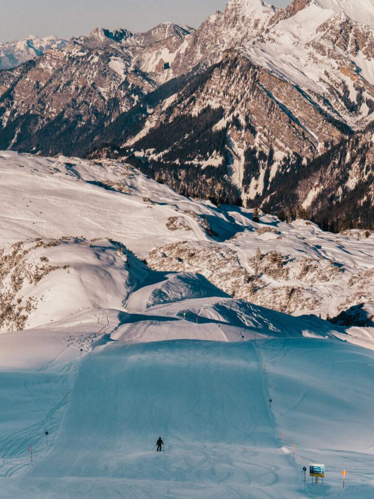 vorarlberg sonnenkopf arlberg klostertal piste ski-fahren berge mann