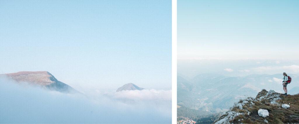 südtirol dolomiten eggental berge wandern rosengarten felsen frau wolken