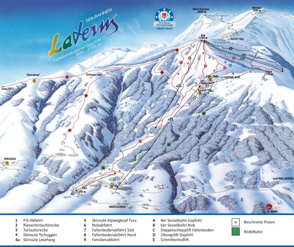 vorarlberg laterns laternsertal ski-fahren piste schnee skigebiet karte