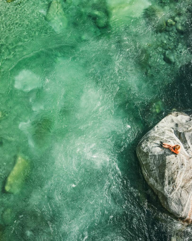 switzerland ticino verzasca-valley hiking water river woman