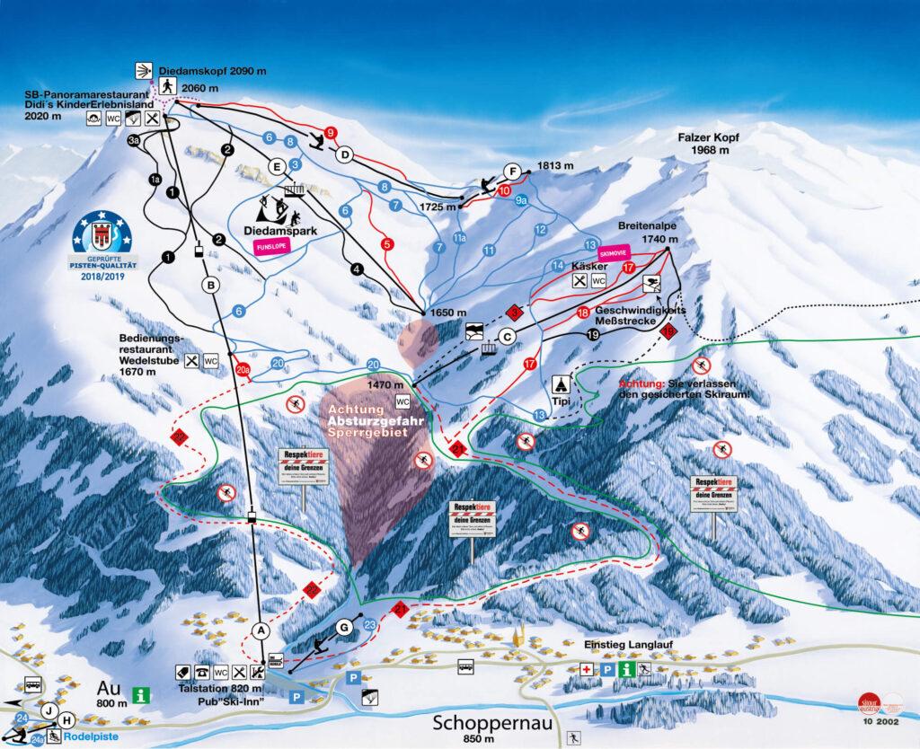 vorarlberg diedamskopf bregenzerwald skiing winter snow mountain karte