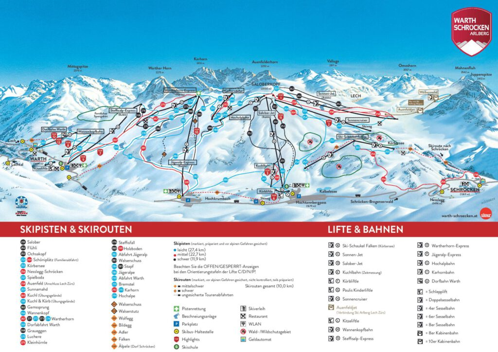 vorarlberg warth-schröcken warth schröcken ski-arlberg skiing snow winter skiing-map