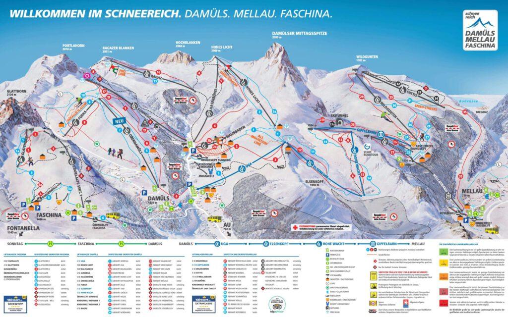 vorarlberg damüls-mellau damüls mellau skiing winter mountain snowboard map